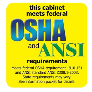 Image of OSHA and ANSI requirment cabinet approval sticker.