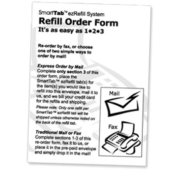 Image of SmartTab ezRefill System Refill Order Form.