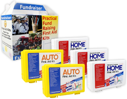 Image of auto and home first aid fundraising kits.