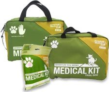 Image of soft green medical kit bags for dogs.