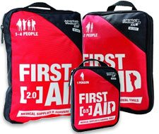 Image of red soft bag first aid kits for low risk activities.