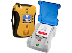 Image of automated external defibrillator and an automatic defibrillator training unit.