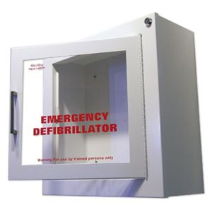 AED wall cabinet with alarm.