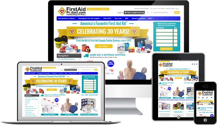 Image displaying firstaidproduct.com home page on numerous devices signifying the capability of website navigation with all types of devices.