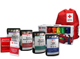 Different American Red Cross 'Be Red Cross Ready' Personal Emergency Preparedness Kits and SmartPack with BackPack Kit.
