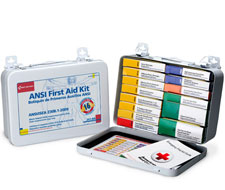 Image of General Information 10 Unit ANSI First Aid Kit with 64 Pieces and a Metal Case