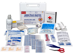 Different ANSI compliant First Aid Kits in metal & plastic cases.