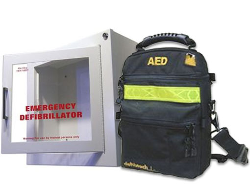 Image of AED Wall Cabinet Surface mount with Alarm and Defibtech Soft Carrying Case