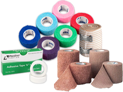 All types of Bandages and Wraps for First Aid -- 3-Cut Tapes, Elastic Bandages, First Aid Tapes, Athletic Tape, Cohesive Elastic Wraps, Elastic Adhesive Tapes, Self-Closing Elastic Ice Wrap and Water Proof First Aid Tapes.