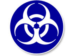 Biohazard sign indicating link to Bloodborne Pathogens training.