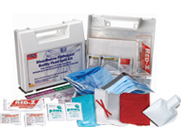 BBP Kits, Spill pick up kits for Bodily fluis clean up - Personal Protection Bloodborne Pathogen/Bodily Fluid Spill Kits, Gloves, Bonnets & CPR Face Shields.