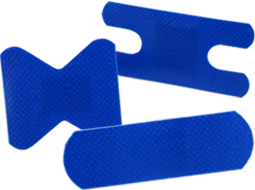 Blue bandages and metal detectable bandages, blue metal bandage, metal detector band-aids - Knuckle Bandages in Blue & Adhesive Bandages.