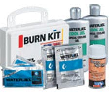 Image of 10 unit burn first aid kit as well as burn relief gels, creams and burn dressings