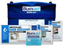 SmartTab EzRefill BurnAid Pack and Water Jel. Bracket for Water Jel Burn Wrap & Burn Wrap.
