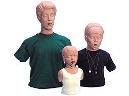Image of Simulaids adult, adolescent, and child choking manikins.