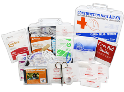 Numerous different Bilingual Contractor's First Aid Kits ranging from 10 person kits to 50+ persons available in plastic and metal cases.