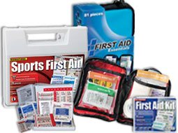 Image of soft first aid essentials kit, 101 piece all purpose kit and other consumer first aid products.