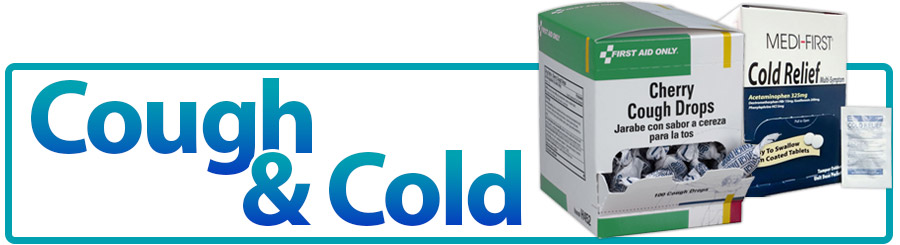 Image of cough drops and cold relief tablets and bold blue title reading: cough and cold
