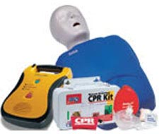 Image of CPR masks, cpr manikin, AED and CPR kit.