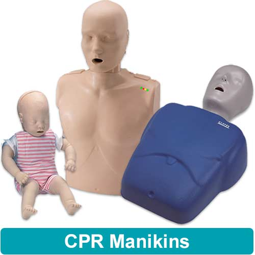 Image of adult cpr manikin, child cpr manikin and infant cpr manikin