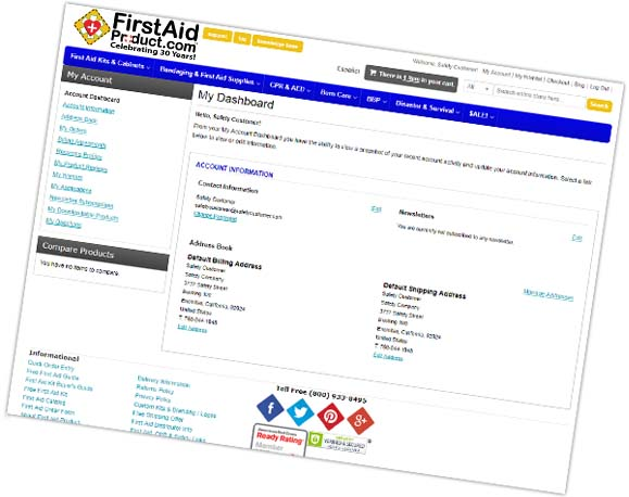 Image displaying a preview of Customer Account Dashboard at firstaidproduct.com