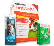 Image of Adventure Medical bath wipes, Easy Care access bandages, and sports & travel Easy Care five pocket first aid kit.