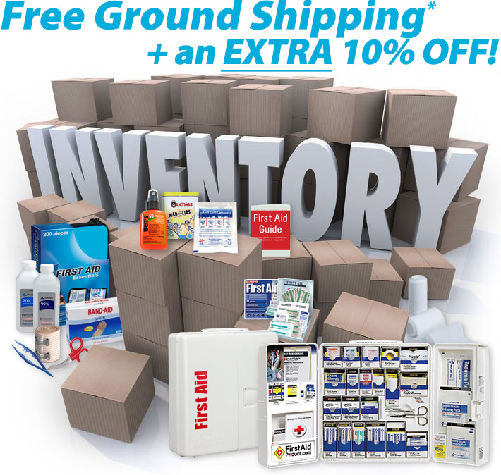 Graphic displaying warehouse boxes and many items which are being sold for 10 percent off