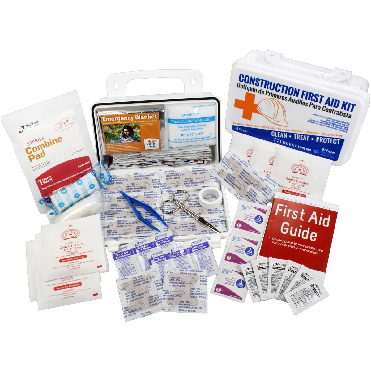 Bilingual OSHA Contractors First Aid Kit for Job Sites up to 10 People – Gasketed Plastic, 97 pieces