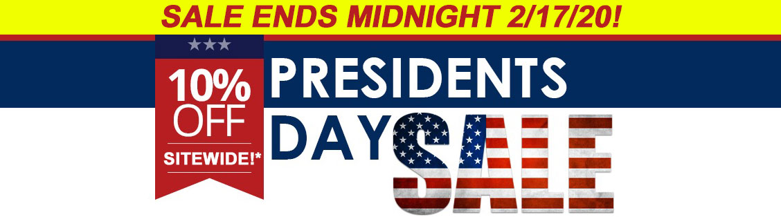 Image of banner reading: Presidents day sale. Plus free shipping.