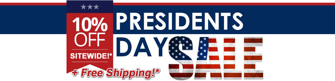 Image of banner reading: President's day sale. Plus free shipping.