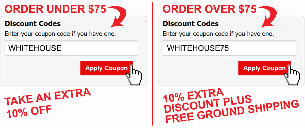 Image of discount code box displaying a preview of how customer will add promo code to their shopping cart and click on the apply coupon button