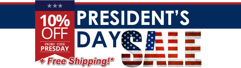 Image of banner reading: President's day sale. 10 percent off promo code PREZDAY. Plus free shipping.