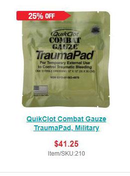 QuikClot Combat Gauze TraumaPad, Military