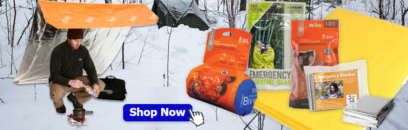 Image of 2-Person Emergency Bivvy, Emergency Blanket, Heat Reflective Breathable Blanket, SOL Survival Blanket, and SOL Sport Utility Blanket.