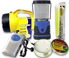 Image of emergency radio, emergency flashlight, emergency lantern, emergency light stick and emergency candle that lasts for 36 hours.