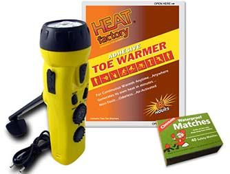 Image of Heat Factory Adhesive Toe Warmer, 4 n 1 Dynamo 3 LED Flashlight with Phone Charger, and Waterproof Matches Box of 40.