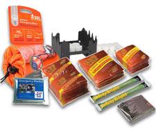 Image of heat warmer pack, solar emergency blanket, emergency stove, and SOL emergency bivvy.