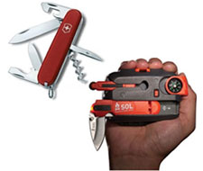 Image of hand tools: SOL Origin and Swiss Army Style Knife with 13 Functions.