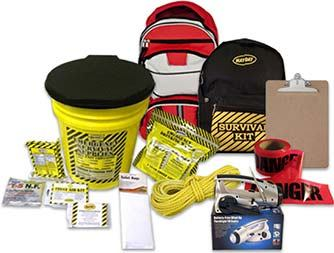 Image of emergency survival kits, rope, caution tape and food packs.