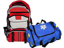 Image of Empty First Responder Bag and Large Multi-pocket Hikers Backpack.