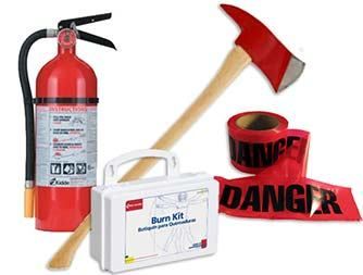 Image of fire extinguisher, burn kit, red caution tape and fire axe.