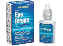 Eye drops for lubricating, redness relief, dryness relief and other relieving eye discomfort.