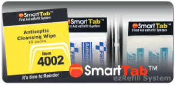 Image of smart tab antiseptic cleansing wipes, adhesive bandages and cleansing wipe.