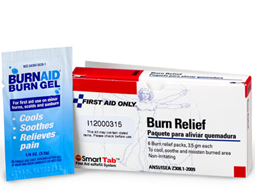 Individual First Aid / Burn Cream & Burn Relief Gel available in various boxes and trays.