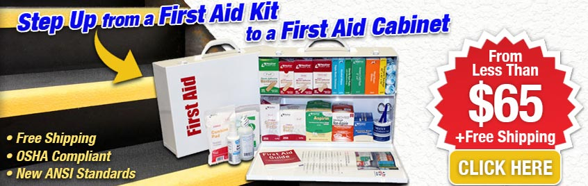 Graphical image displaying an open 2 shelf first aid aid cabinet and items