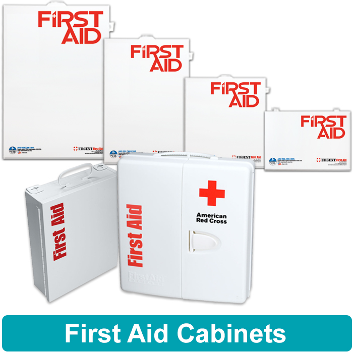Image of 2 shelf first aid cabinet, 3 shelf first aid cabinet, 4 shelf first aid cabinet, 5 shelf first aid cabinet and smart compliance first aid cabinets