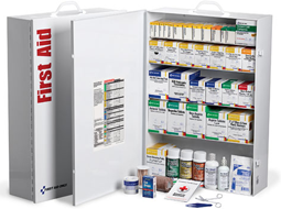 Many OSHA & ANSI Compliant First Aid Cabinets and accessories for Cabinets including Pocket Liners for Cabinets in 2, 3, 4 and 5 Shelf sizes. These Industrial First Aid Stations with or without the Pocket Liners are designed to serve 50-200+ people.