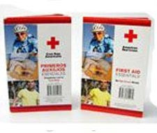 Image of first aid books, guides and manuals with American Red Cross logo.