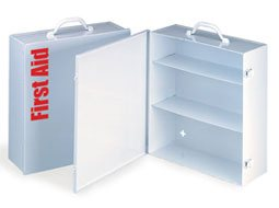 Image of Empty Metal Industrial Cabinet Swing Out Door - 3 Shelf