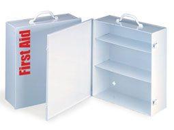 Image of Empty Metal Industrial Cabinet Swing Out Door - 3 Shelf